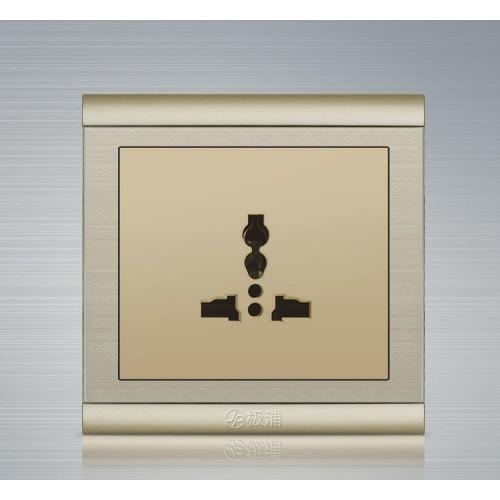 極浦香檳金優質鋼架插座 極浦 多功能三孔插座 插座廠家 電工-- 深圳市極浦光電科技有限公司