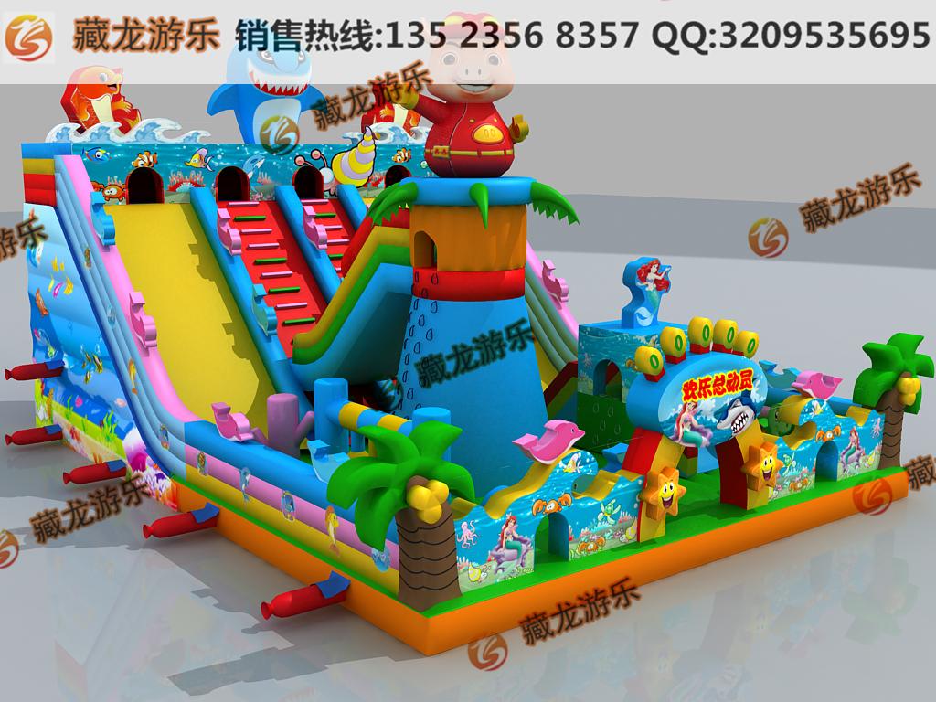 室外游乐气垫城堡滑梯 游乐园里的充气玩具哪买 大型熊出没造型气垫-- 郑州藏龙游乐设备有限公司